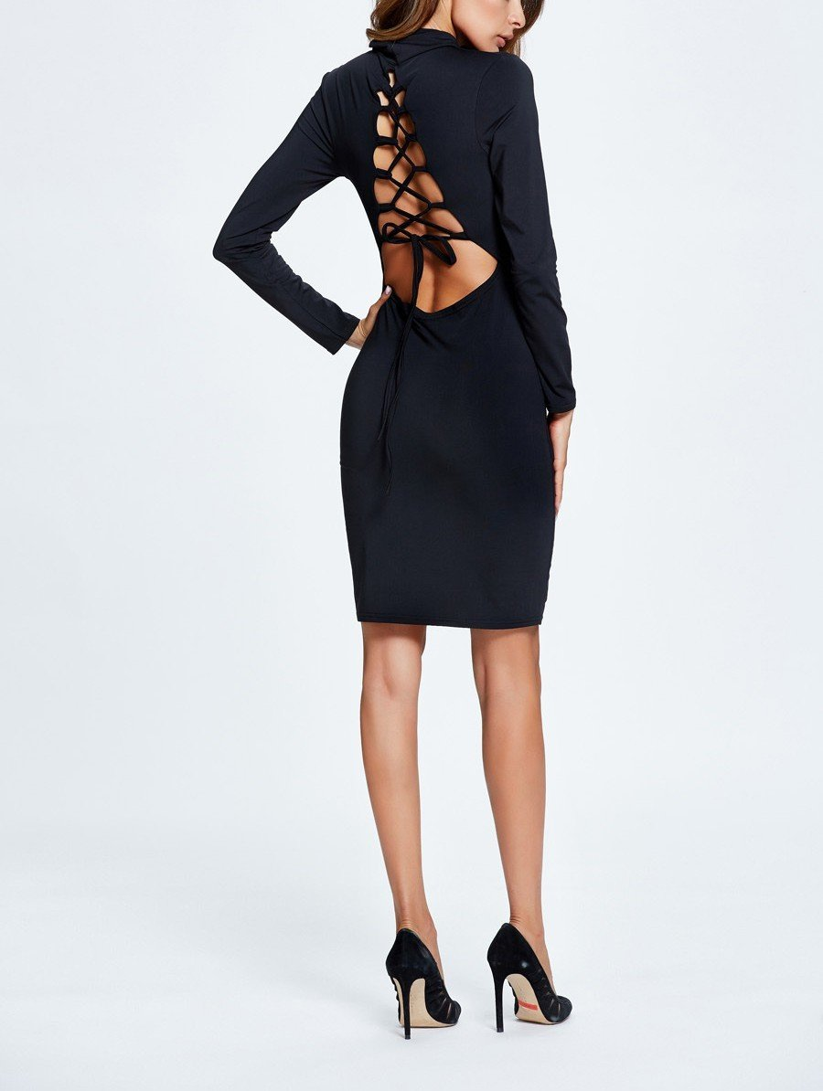 Knit Cocktail Dress with Turtleneck and Laced Back