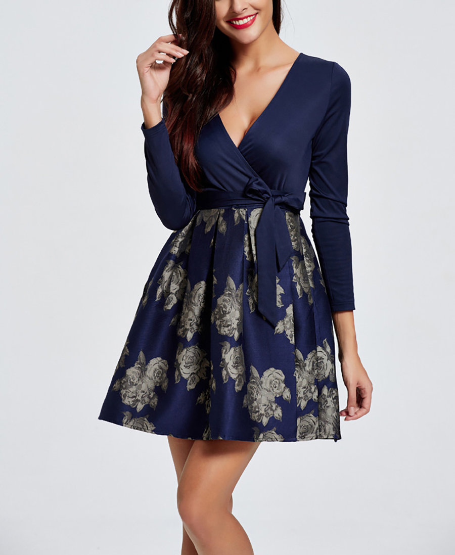 Mini Club Dress with Wrap Front and Print Skirt