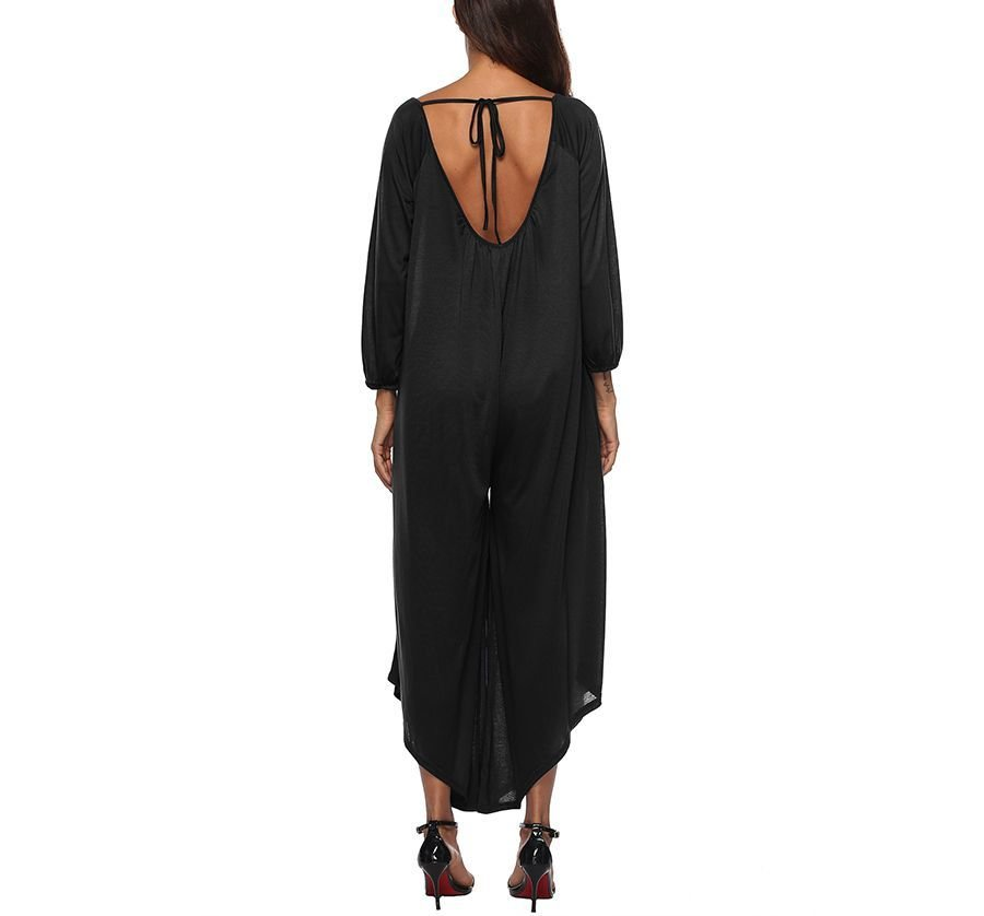 Flowing Jumpsuit with Asymmetrical Hem and Loose WAist
