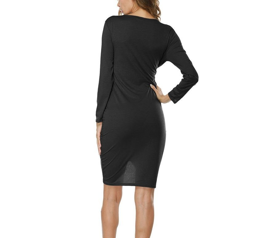 Mini Knit Club Dress with Plunge Neckline and Front Twist Detail