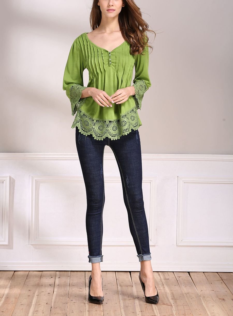 Boho Top with Tucks and Wide Lace Trim