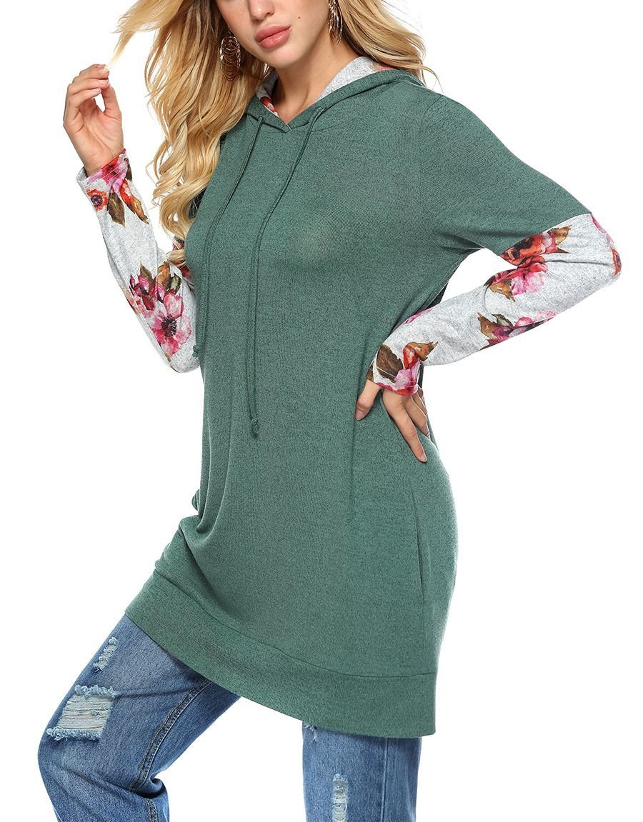 Knit Hoodie Top with Contrast Lining and Sleeves