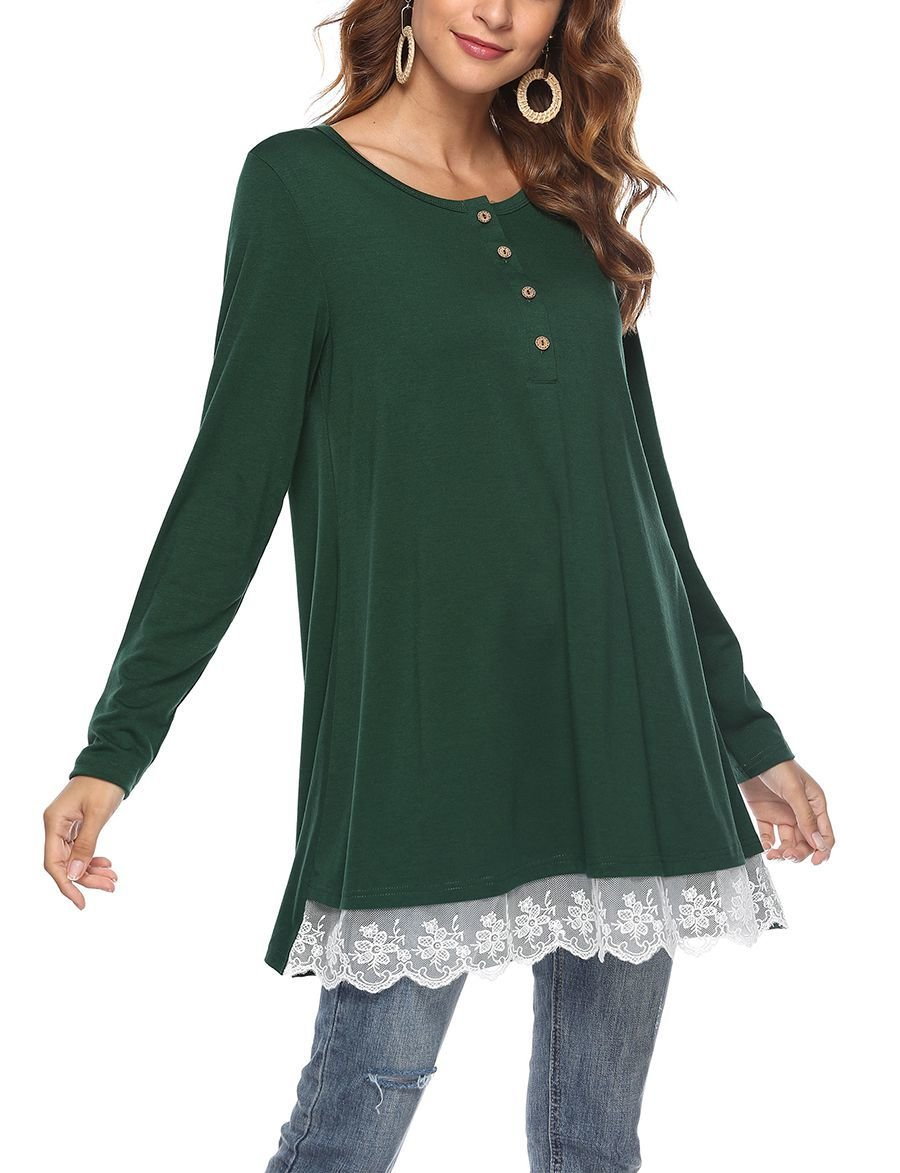 Henley Top with Lace Hem