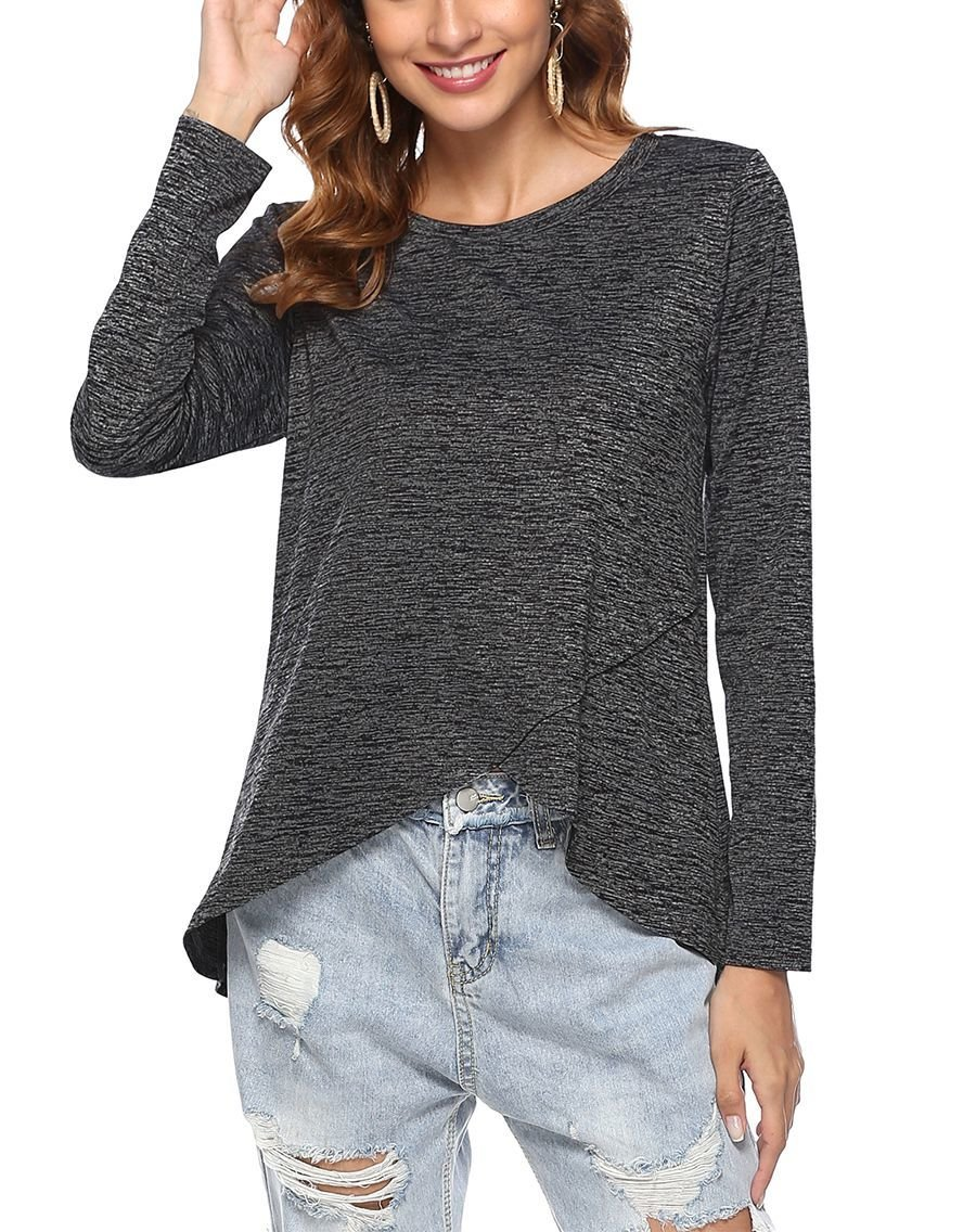 Knit Top with Crossover Front and Scoop Neckline