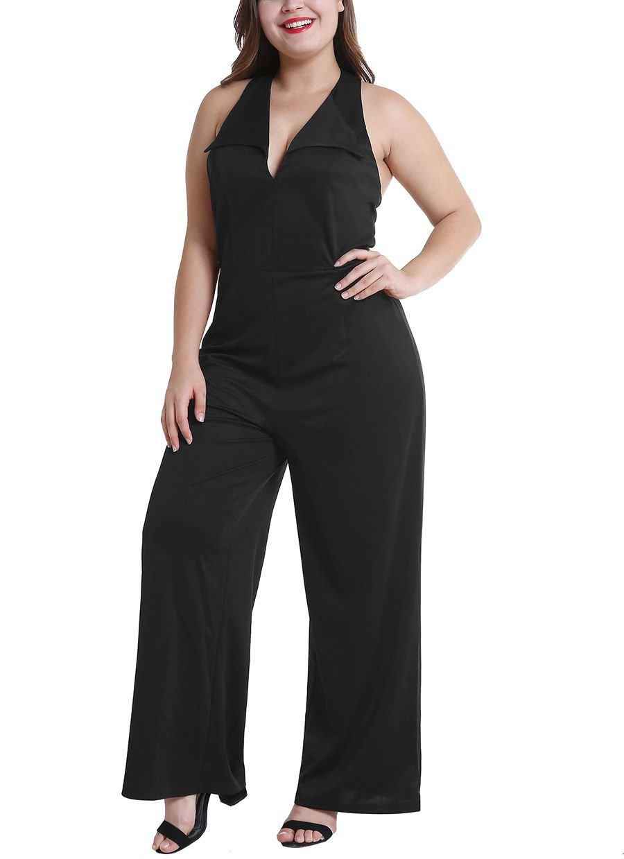 Sleeveless Jumpsuit with Plunge Neckline and Peaked Lapels