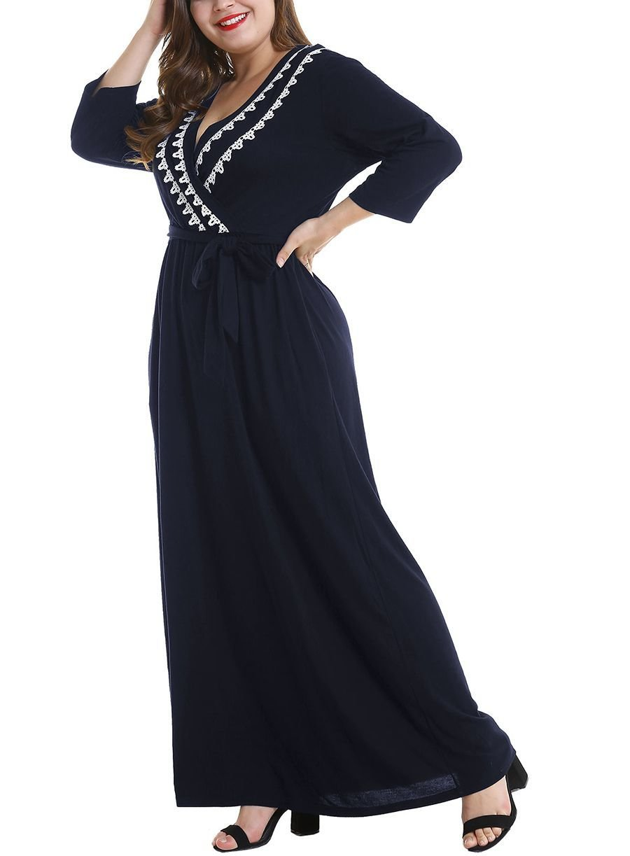 Maxi Casual Dress with Wrap Styling and Lace Trim