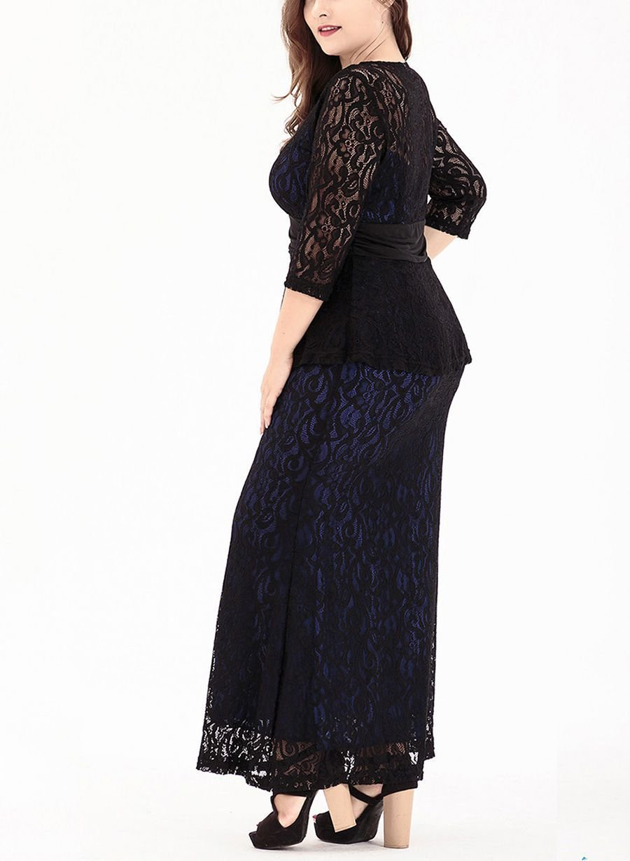 Lace Formal Dress with Contrast Color Lining