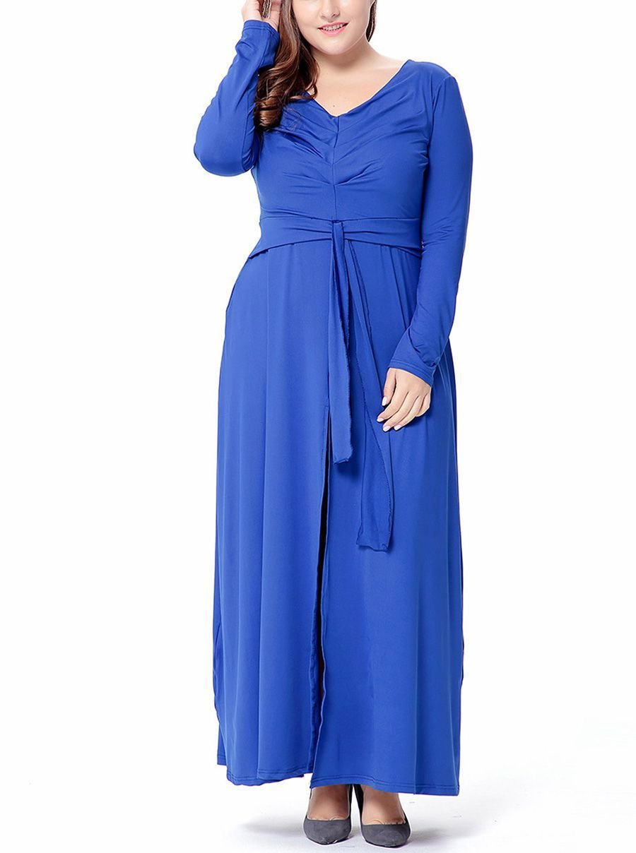 Plus Size Formal Dress with Front Slit Maxi Skirt
