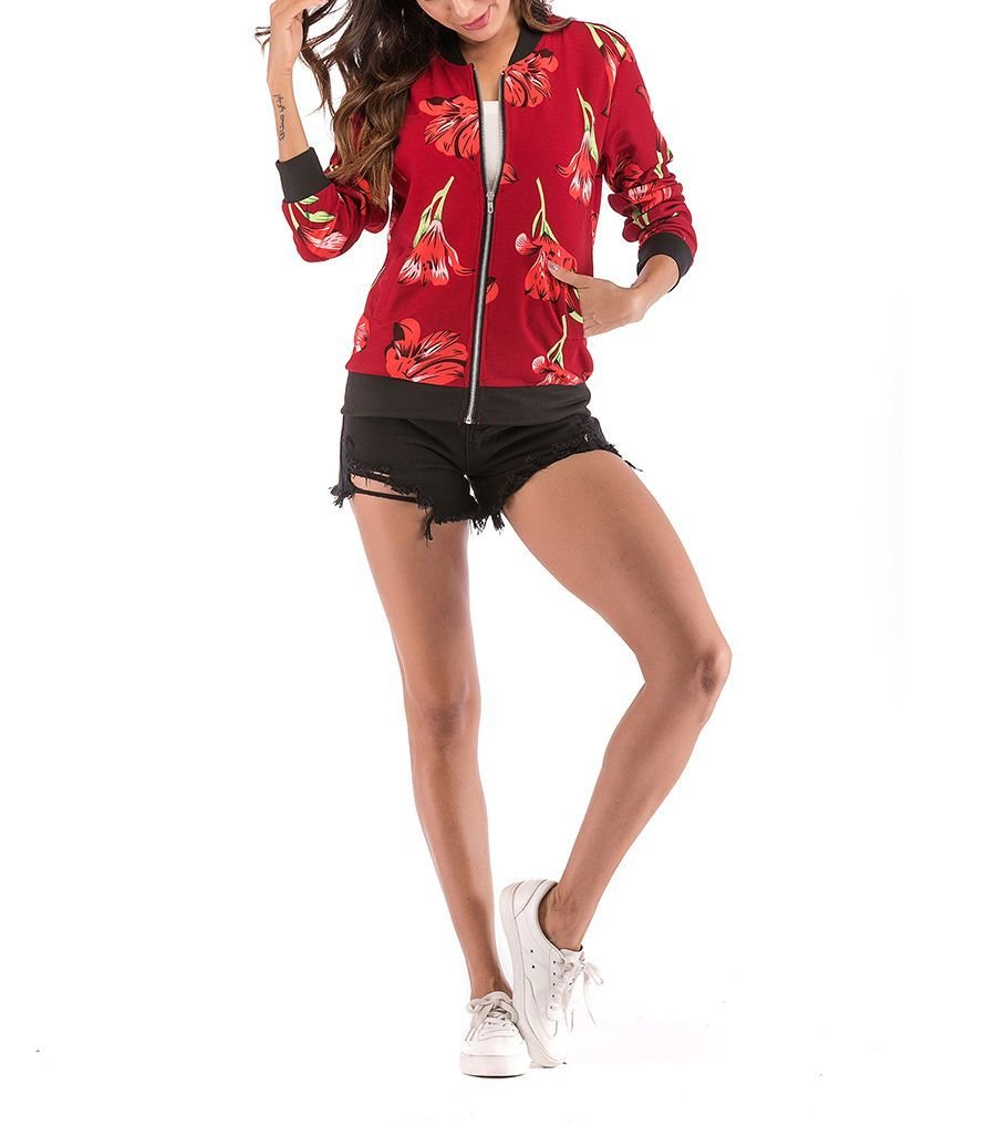 Floral Jacket with Ribbed Bands and Front Zipper