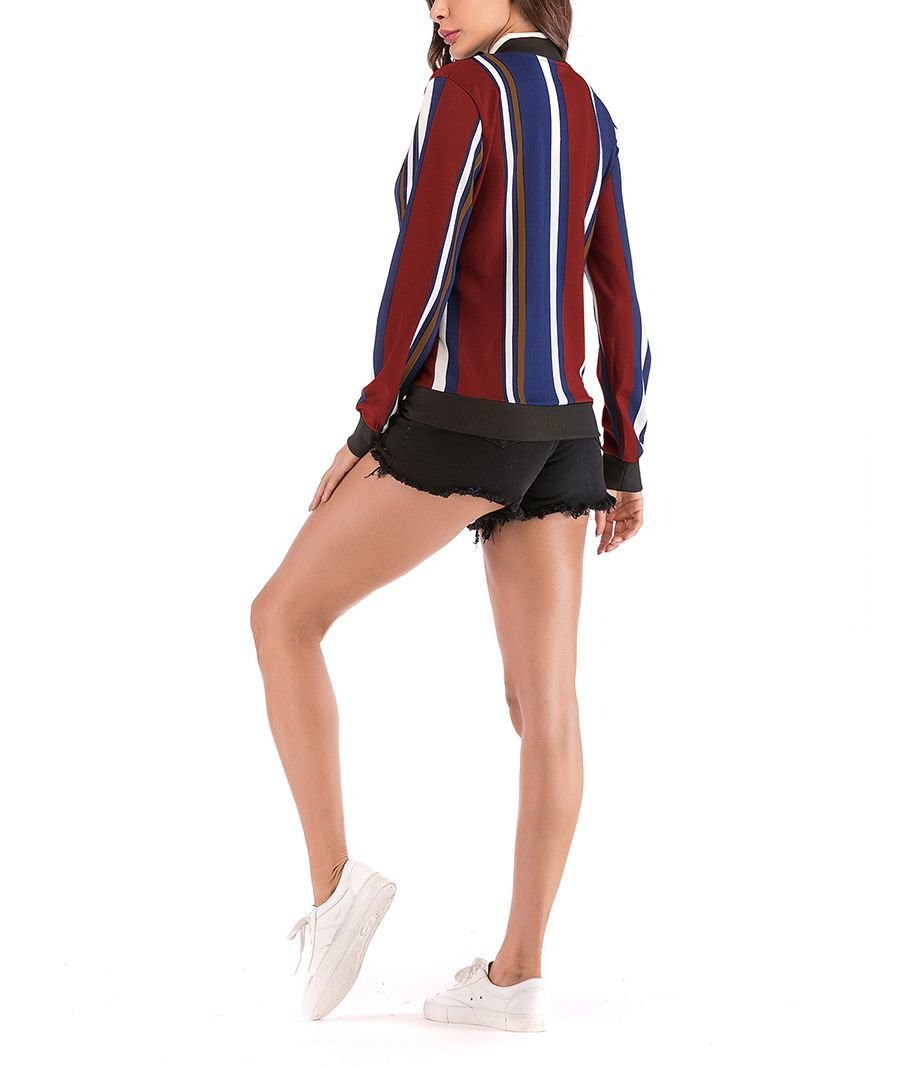 Sporty Jacket with Front Zipper and Ribbed Edges