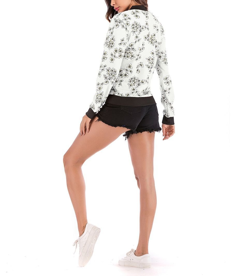 Floral Jacket with Front Zipper and Ribbed Edges