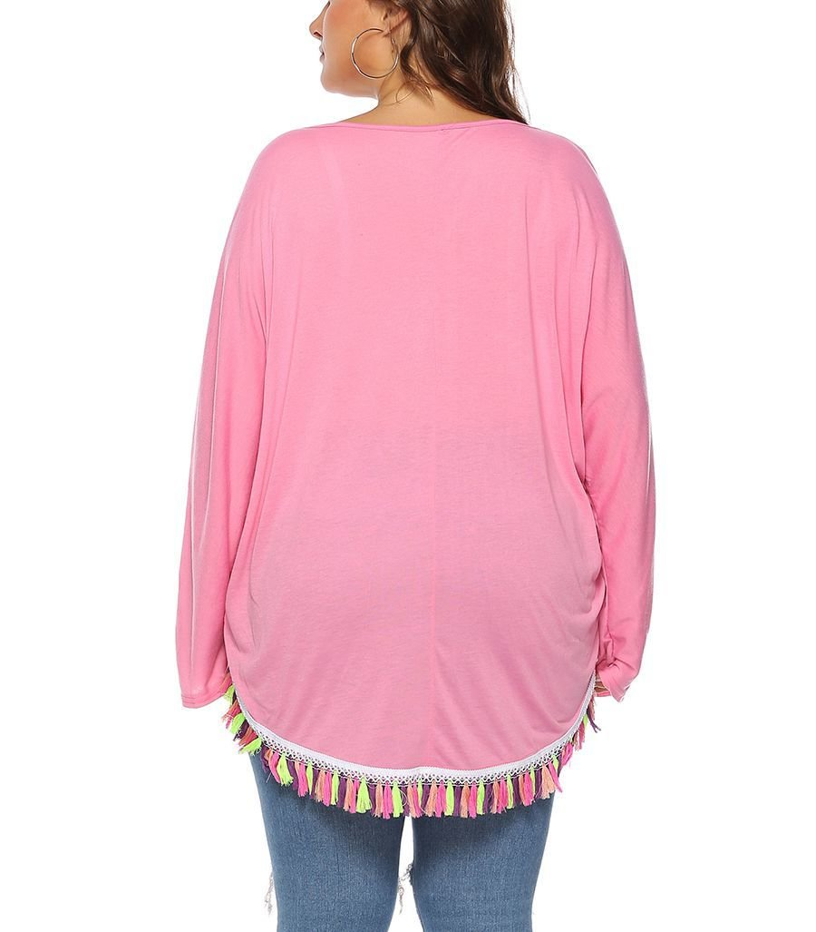 Loose Top with Multicolor Fringe at Asymmetrical Hem