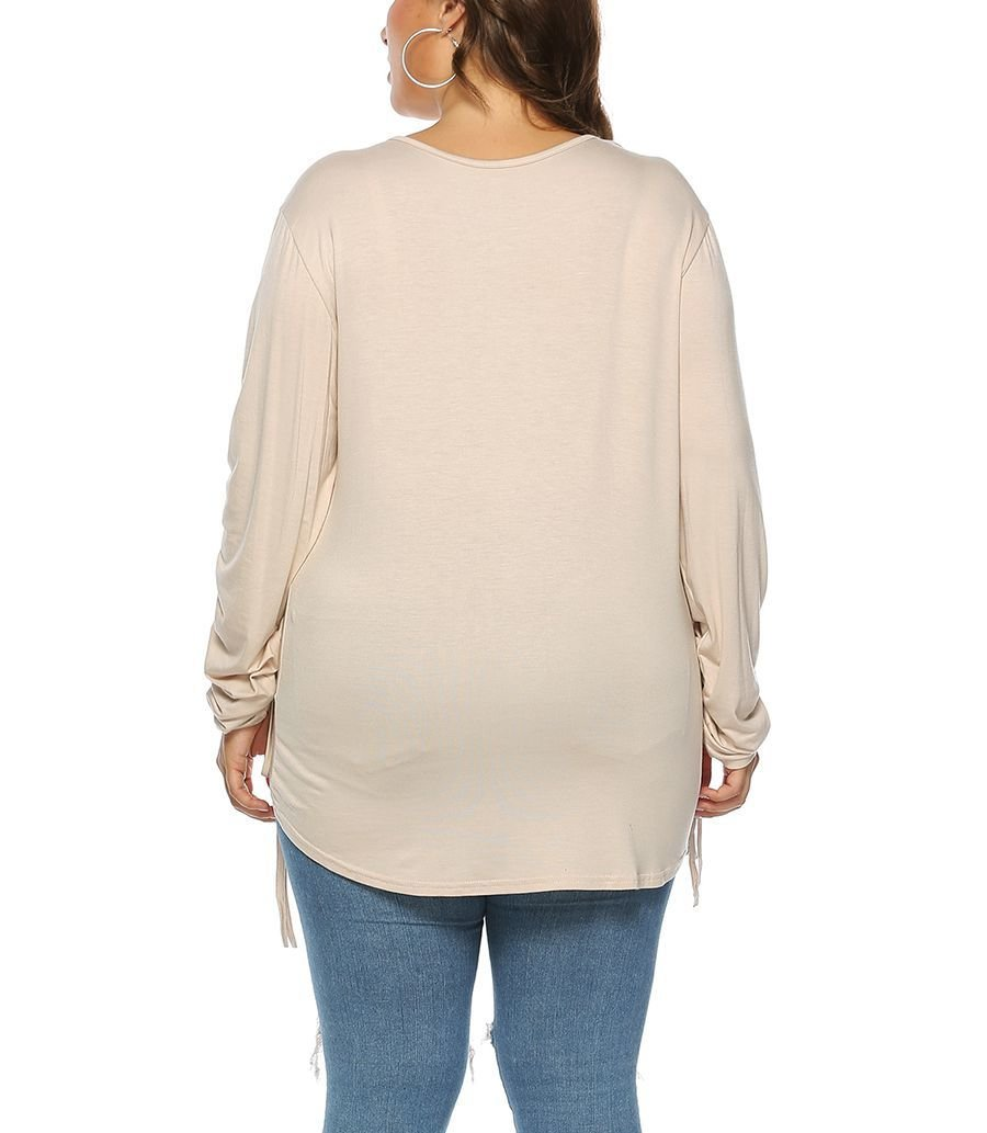 Modal Top with Long Drawstring Sleeves