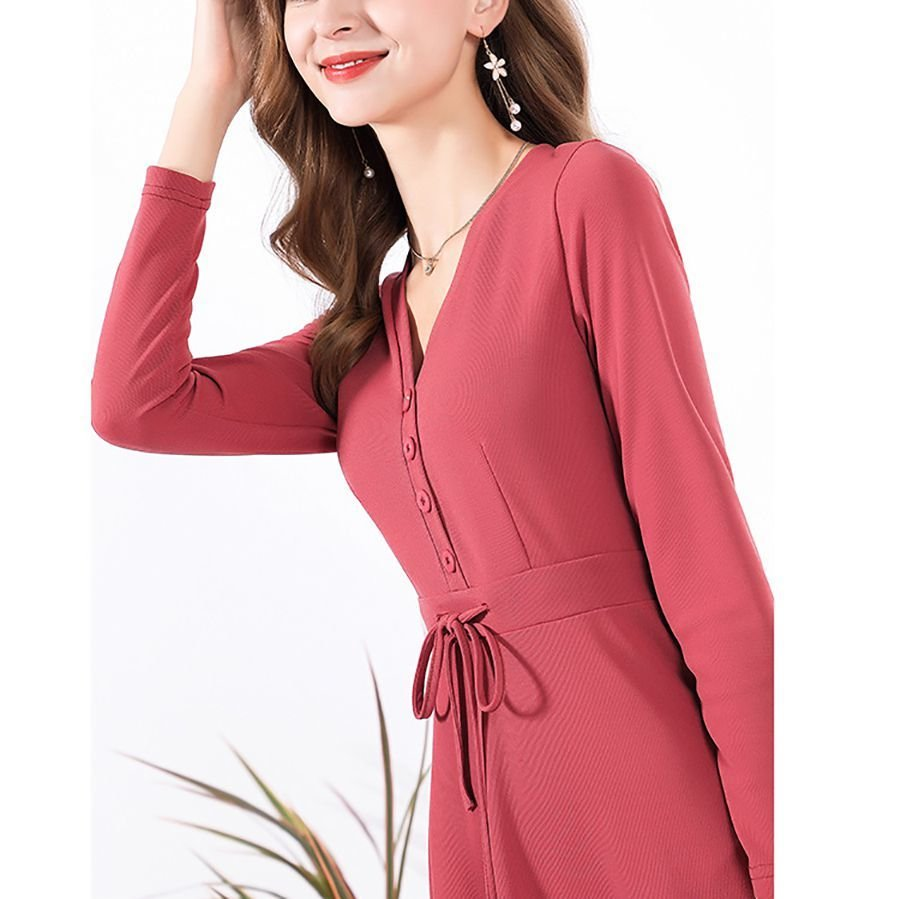Knee-Length Work Dress with Ruffled Hem and Buttoned Front