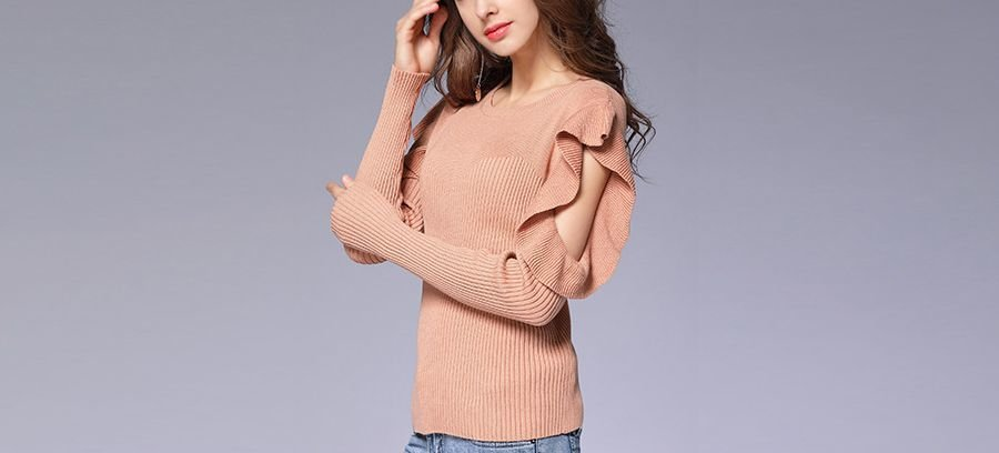 Ribbed Sweater with Ruffled Sleeve Cutouts