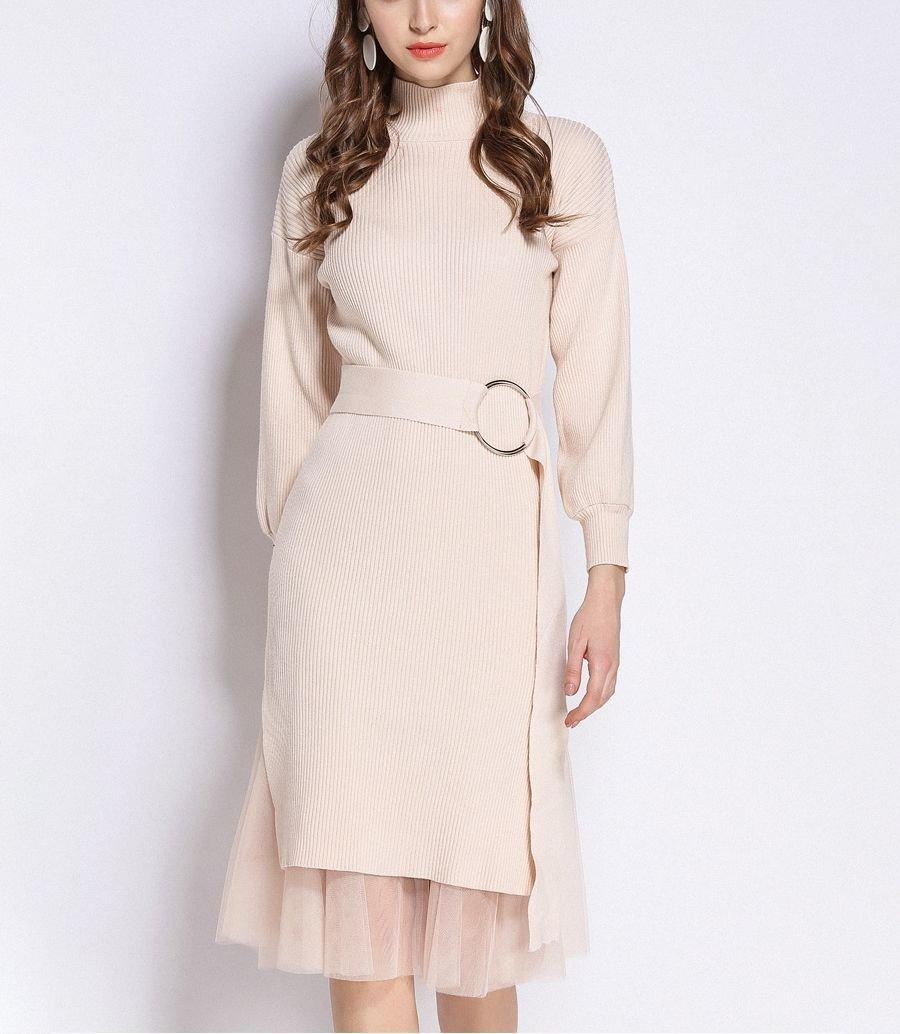 Elegant Knit Dress for Work with Wide Belt