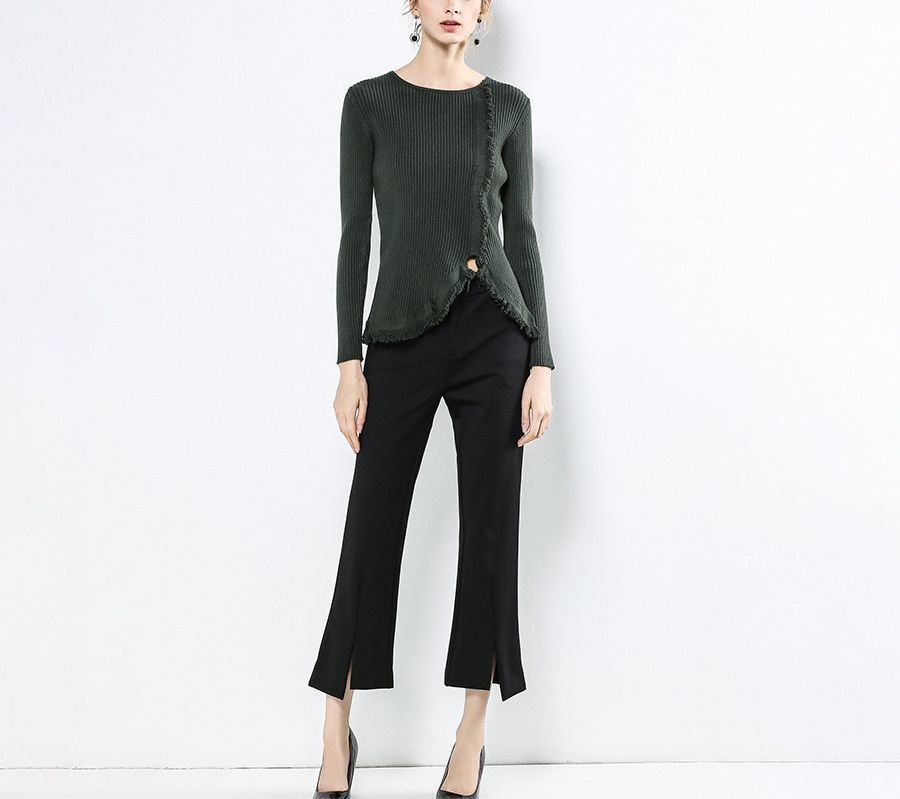 Ribbed Sweater with Fringed Edges and Metal Button Trim