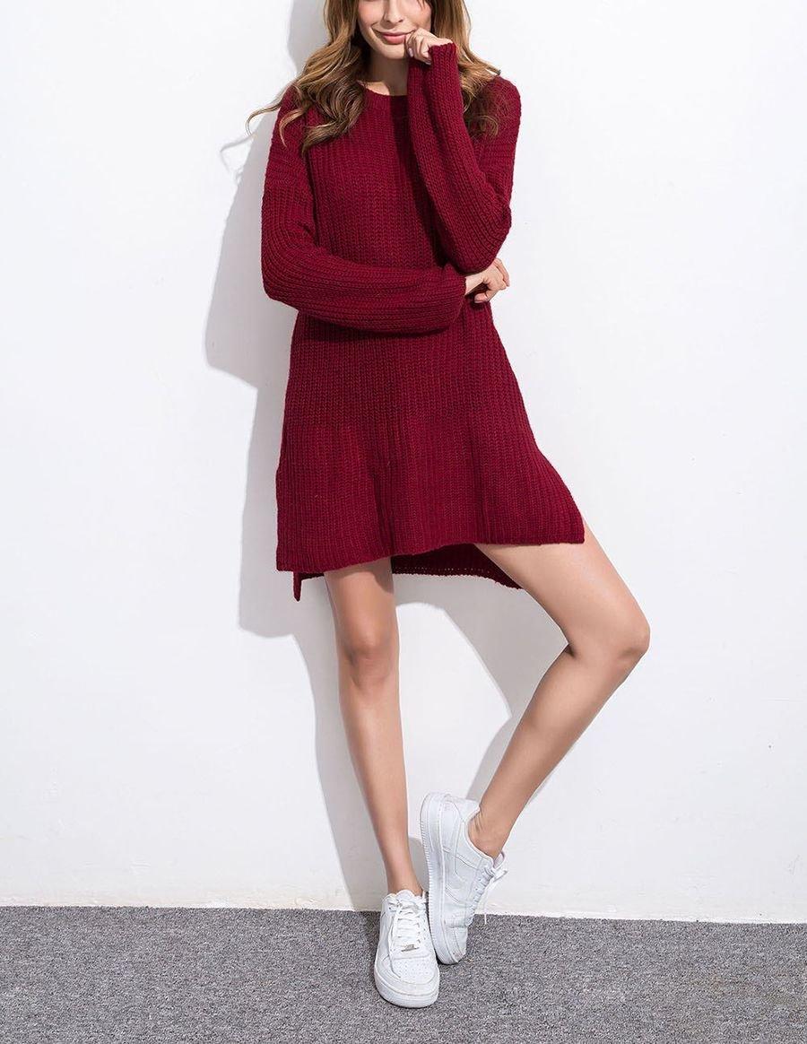 Mini Sweater Dress is Loose Shaker Stitch Pattern