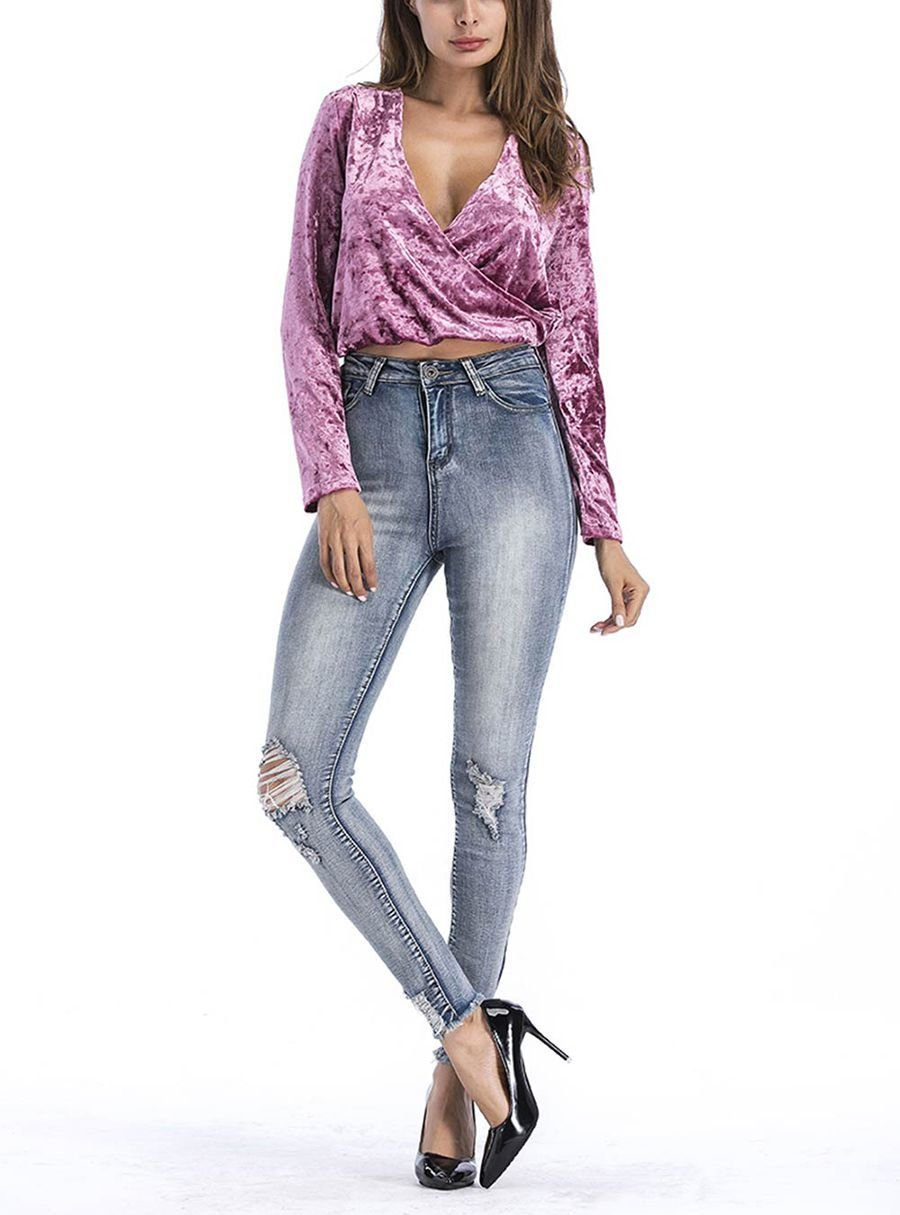 Cropped Top in Crushed Velvet