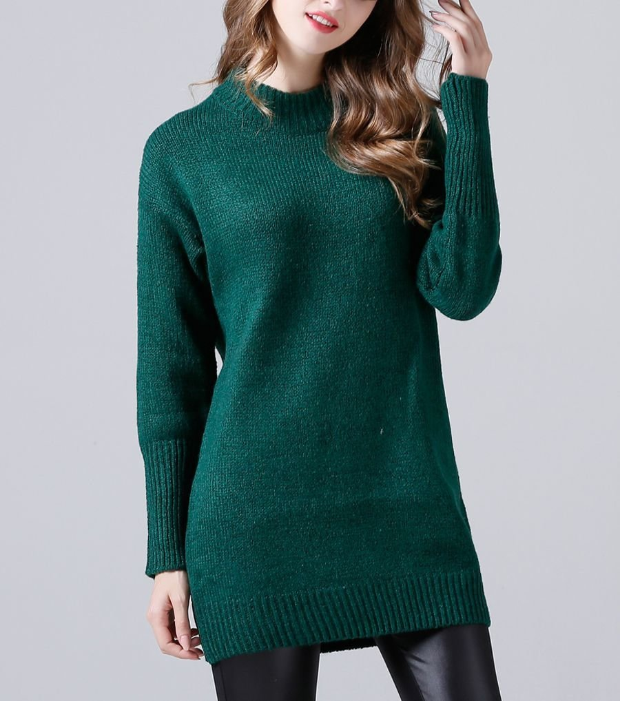 Tunic Sweater with Wide Ribbed Edges