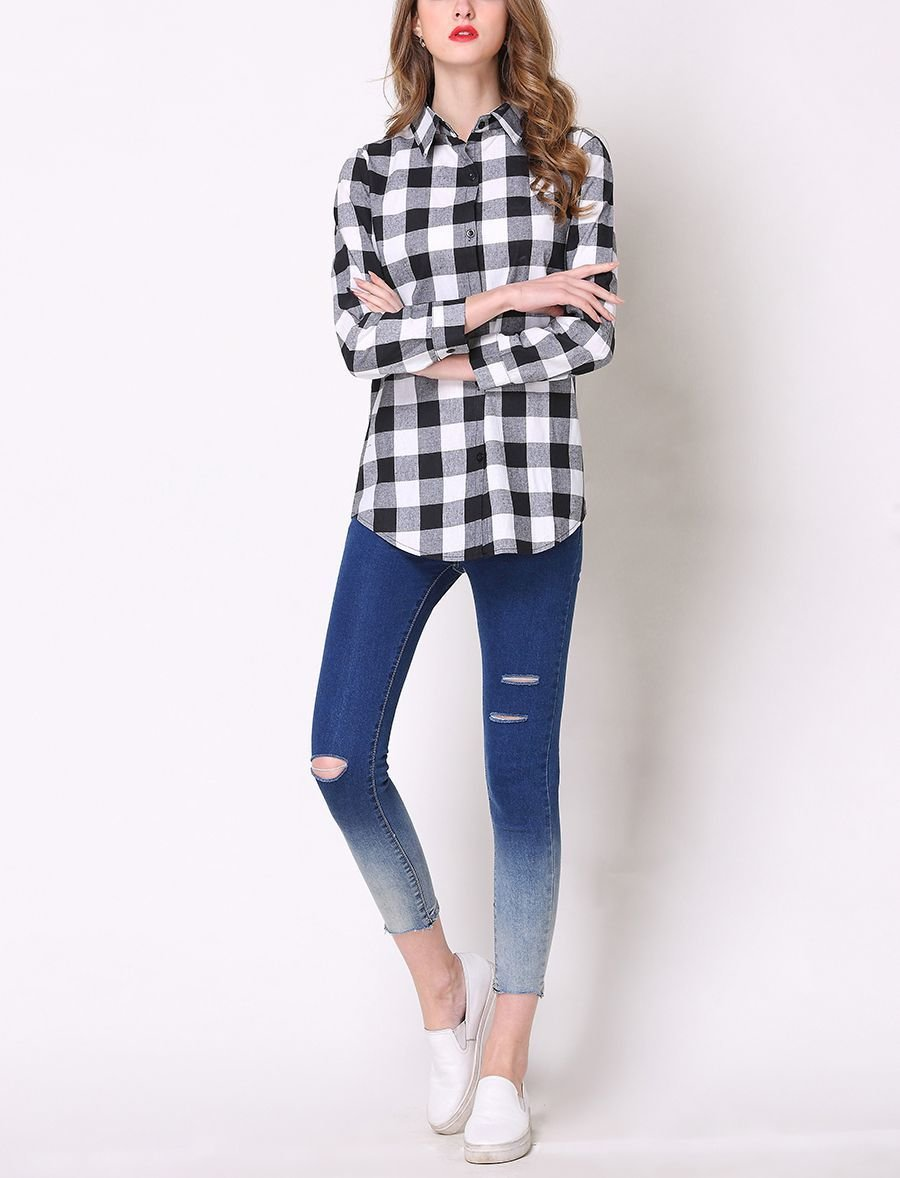 Classic Plaid Top with Menswear Details