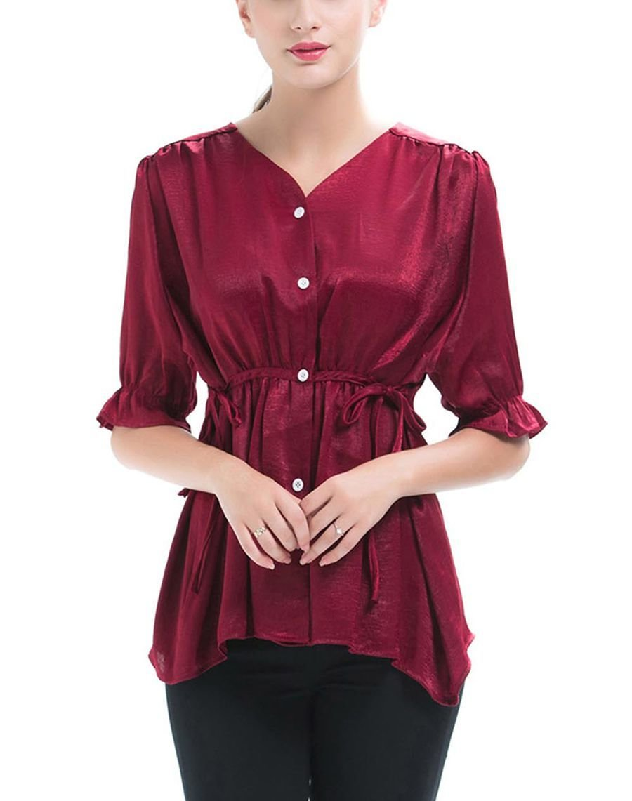 Shiny Cotton Blend Top with Drawstring Empire Waist