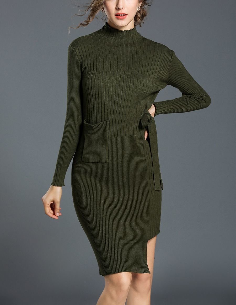 Funnel Neck Sweater Dress for Work