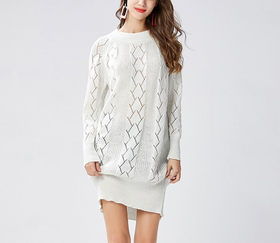 Sweater Dress with Lace Panels