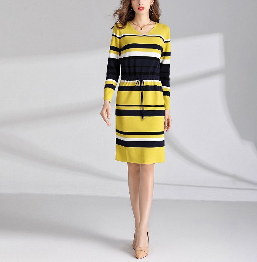 Striped Work Dress in Plus Sizes