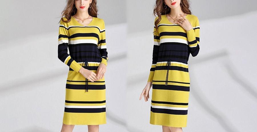 Striped Work Dress in Plus Sizes