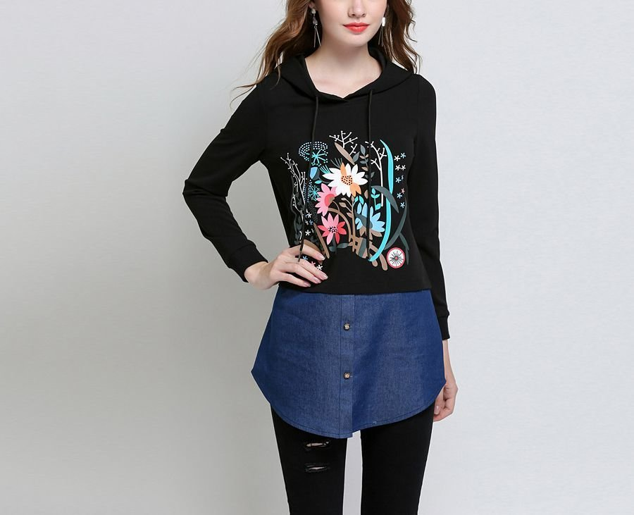 Tunic Top with Two-Piece Look in Large Sizes