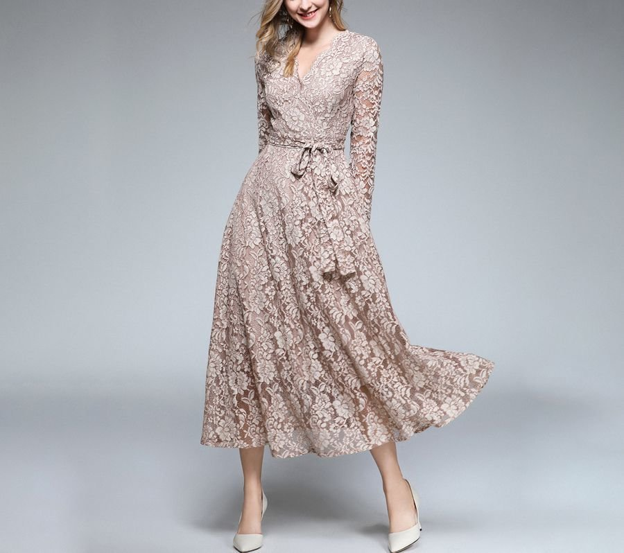 Tea Length Lace Formal Dress