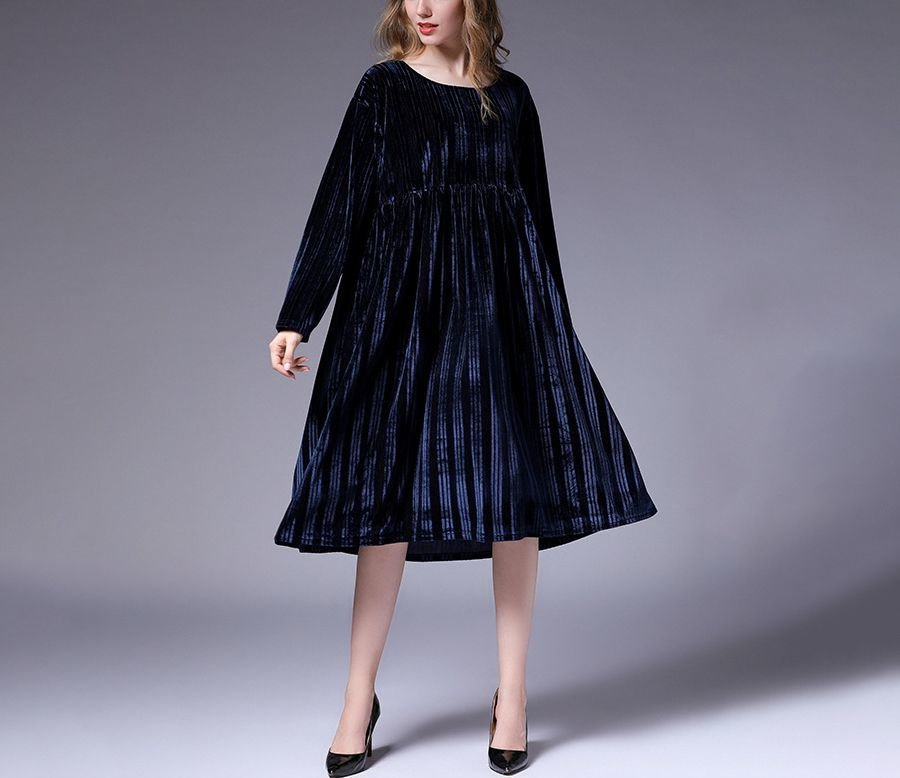 Large Size Cocktail Dress in Striped Velvet
