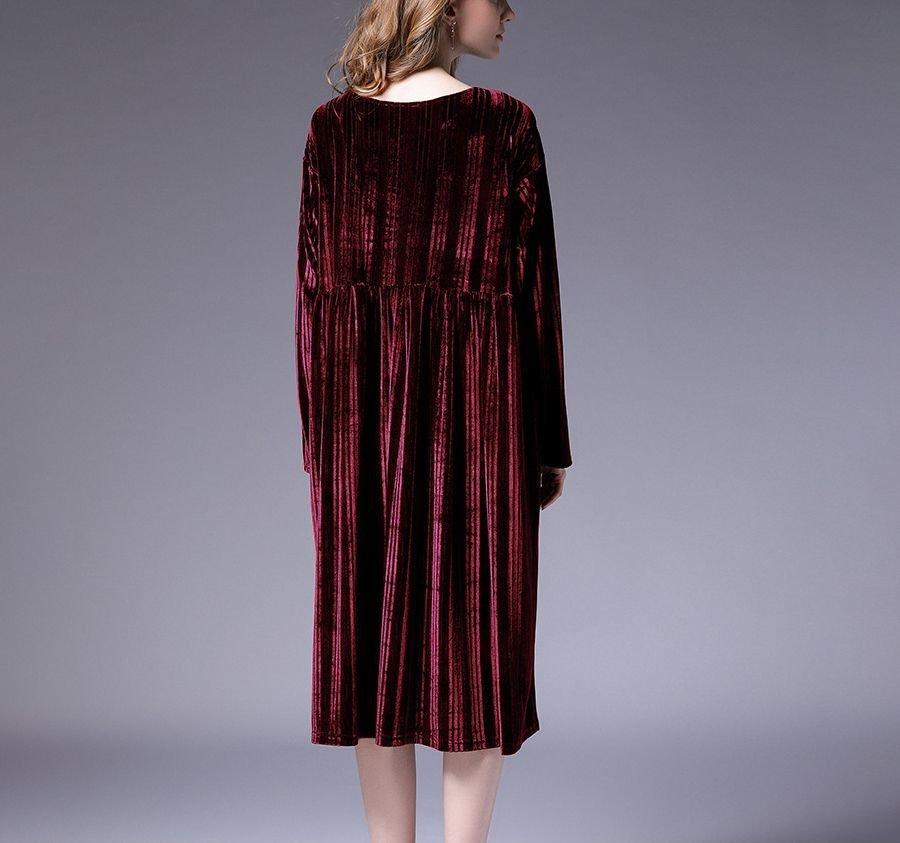 Large Size Cocktail Dress in Striped Velvet
