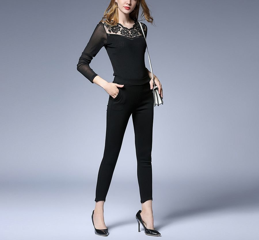 Knit Top with Sheer Sleeves and Lace Neckline