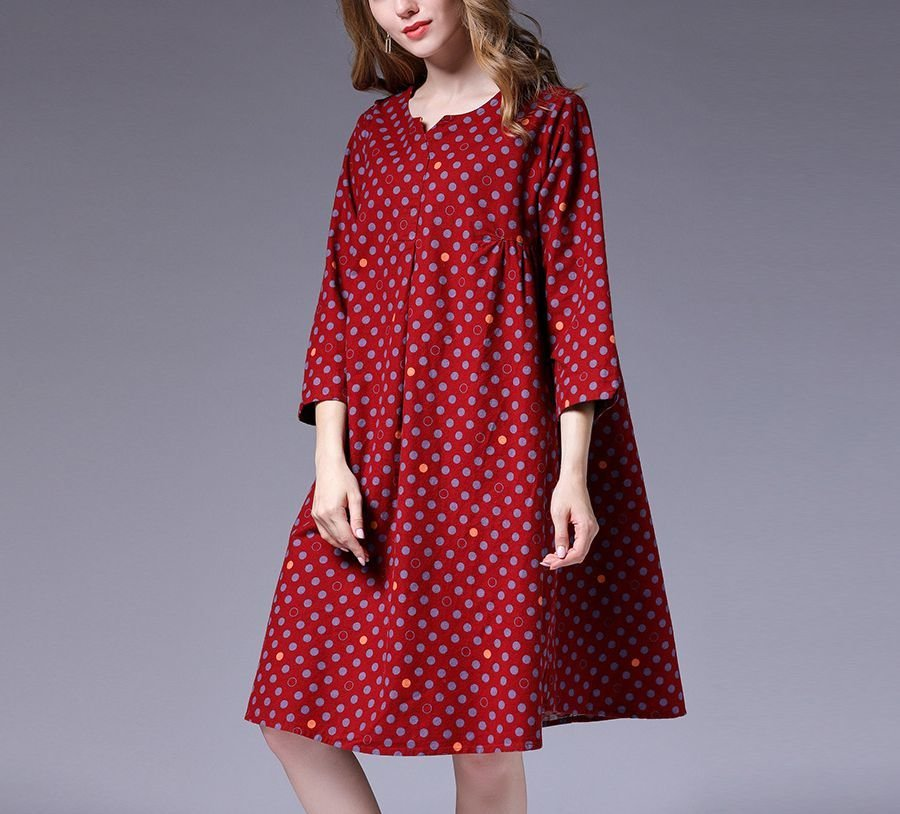 Casual Dress with Polka Dots in Tent Dress Style