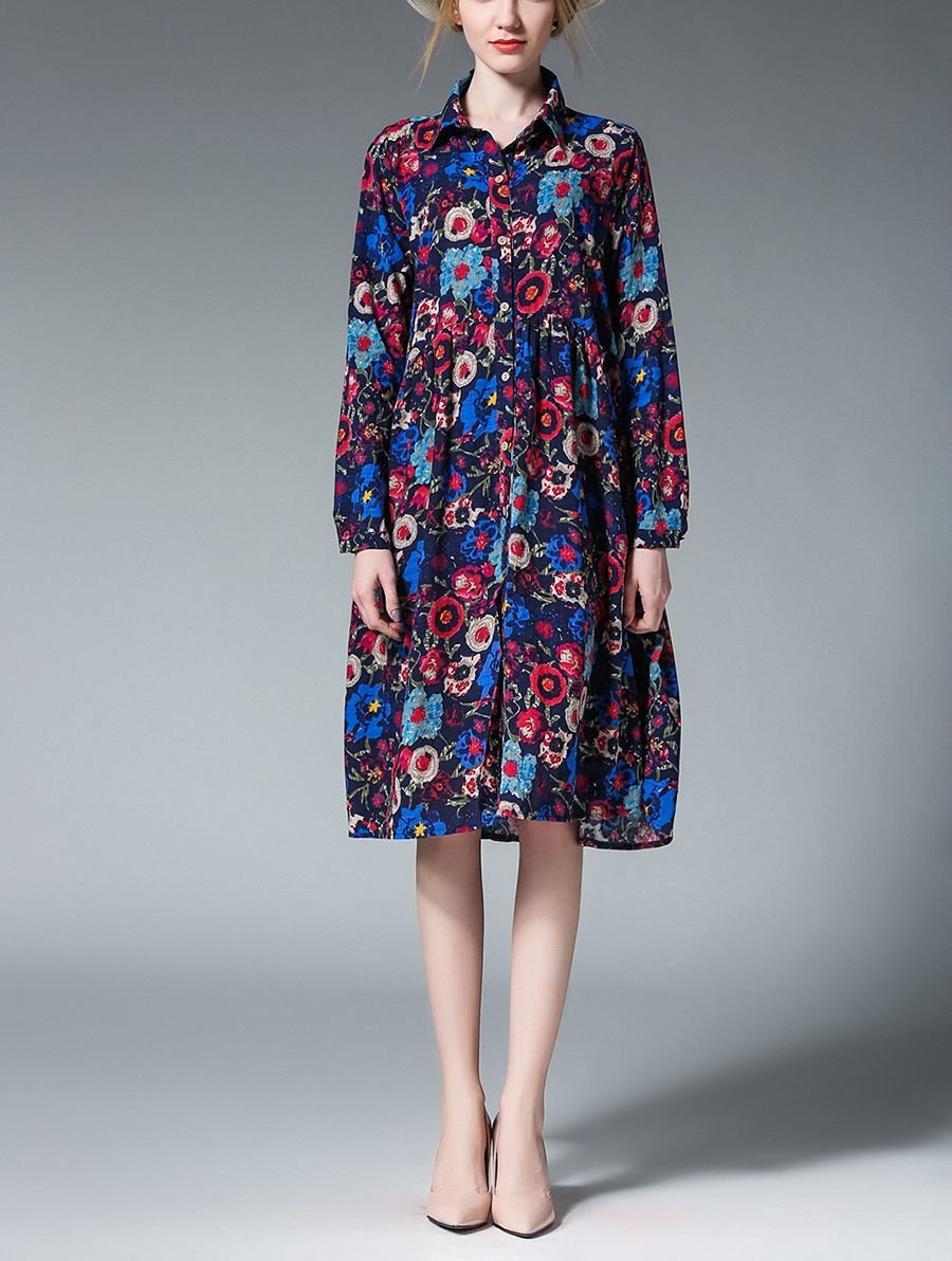 Shirt-Style Dress for Work with Loose Fit