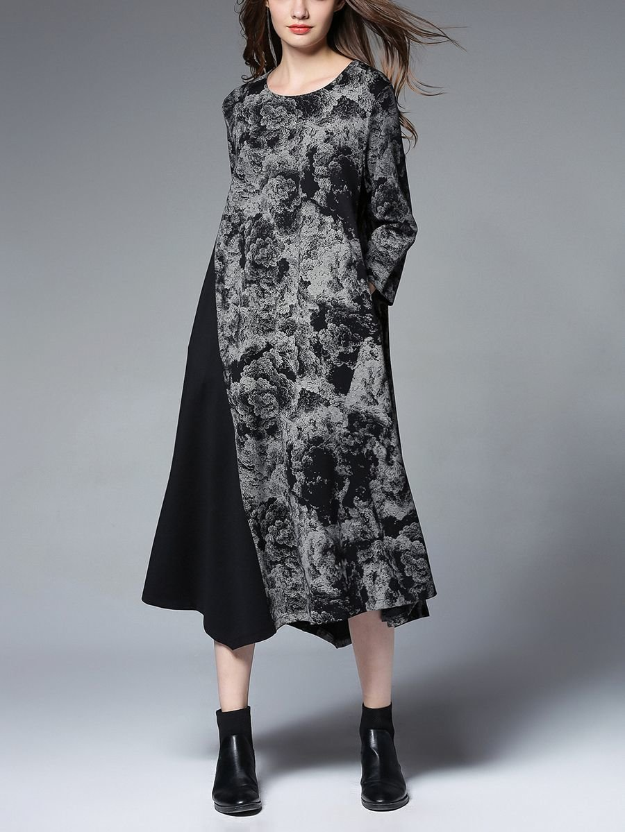 Mid-Calf Casual Dress with Side Pockets