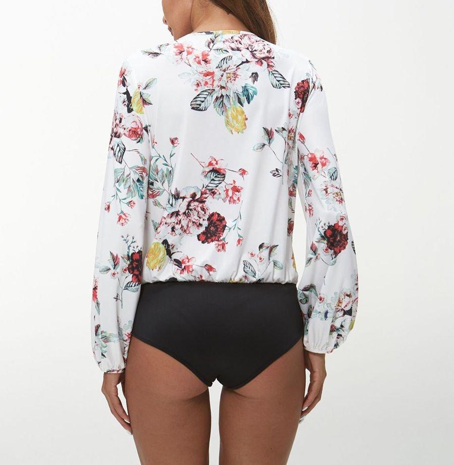 Print Bodysuit with Deep Plunge Neckline