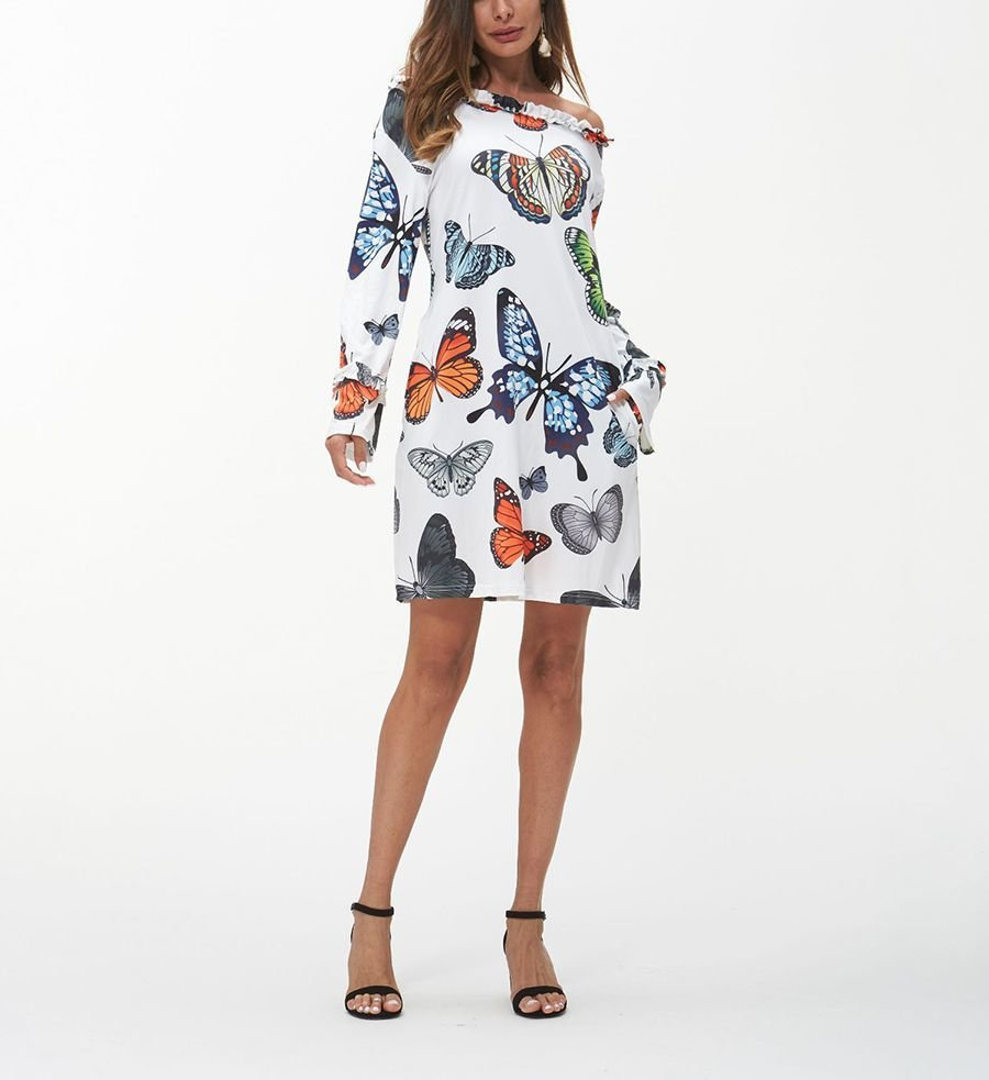 Mini Casual Dress with Butterfly Print