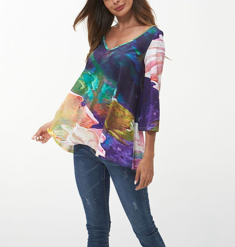 Pullover Top with Hand-Dyed Look and ¾ Sleeves