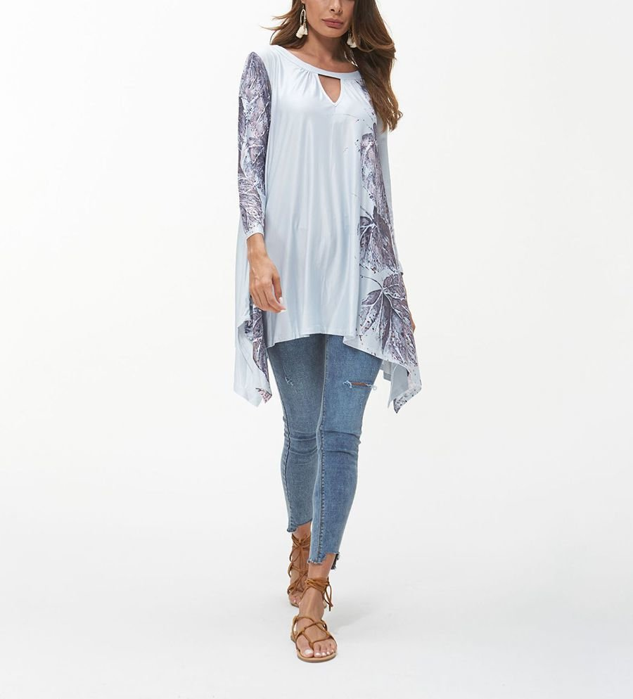 Long Tunic Top with Screen Printed Leaf Design