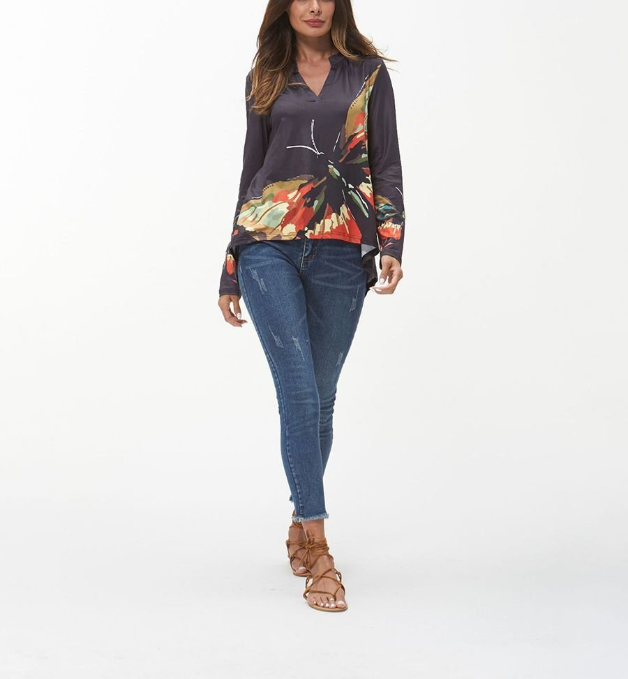 Printed Knit Top with Band Collar