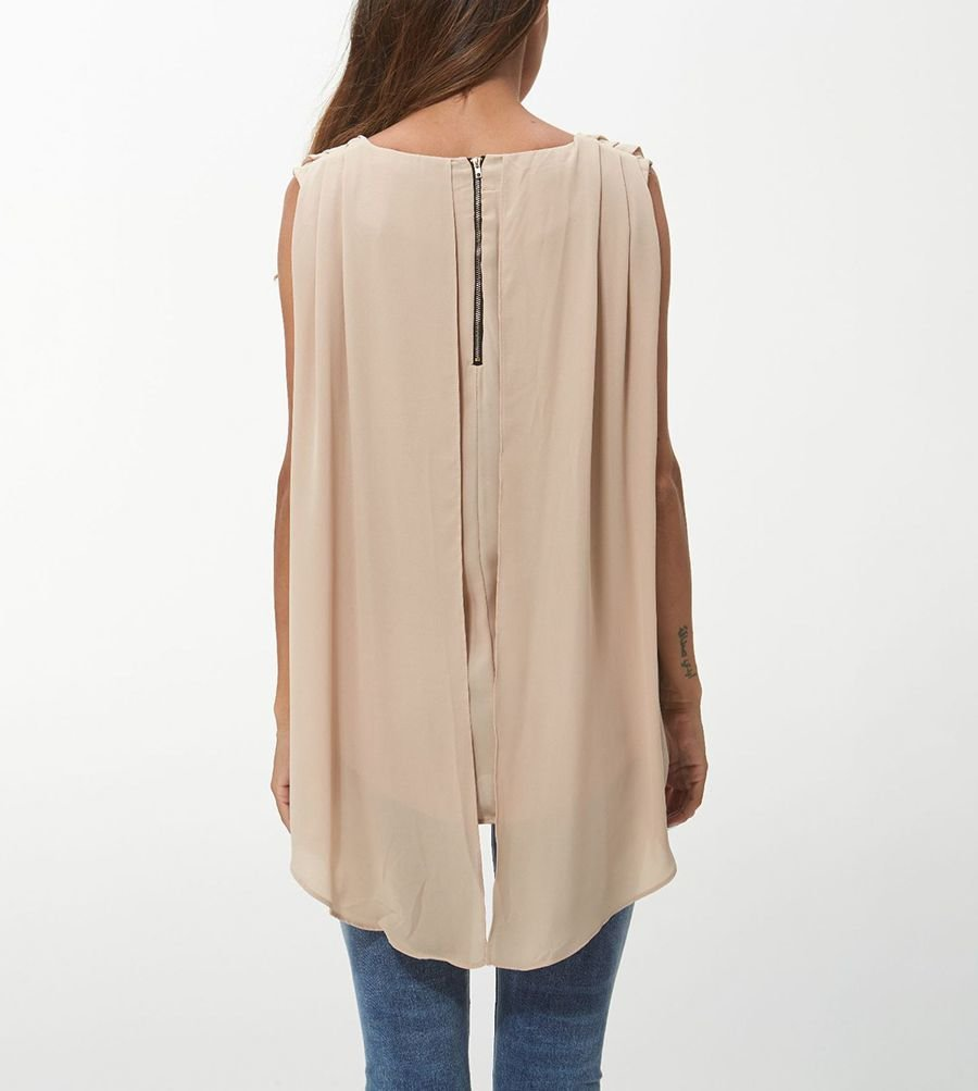 Sleeveless Top in Silky Fabric