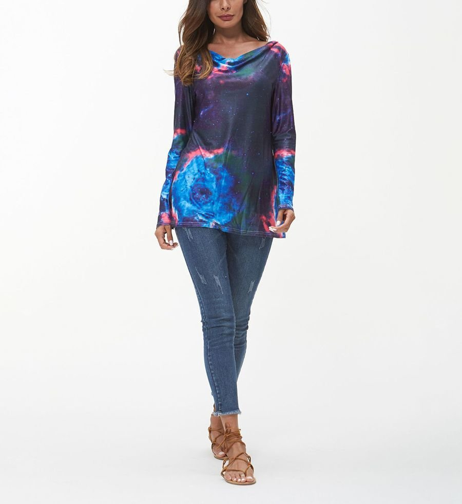 Print Top with Boat Neckline