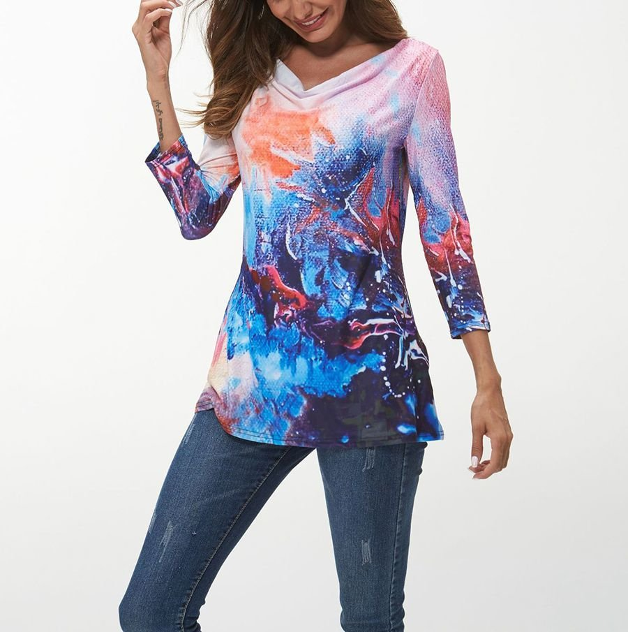 Printed Top with Draped Boat Neckline