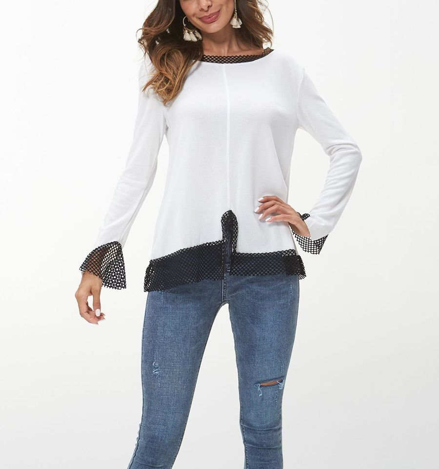 Knit Top with Netting Trim