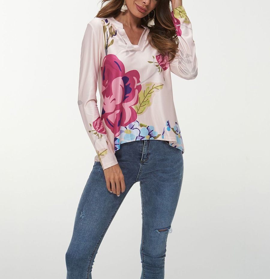 Knit Top with Band Collar and Long Sleeves