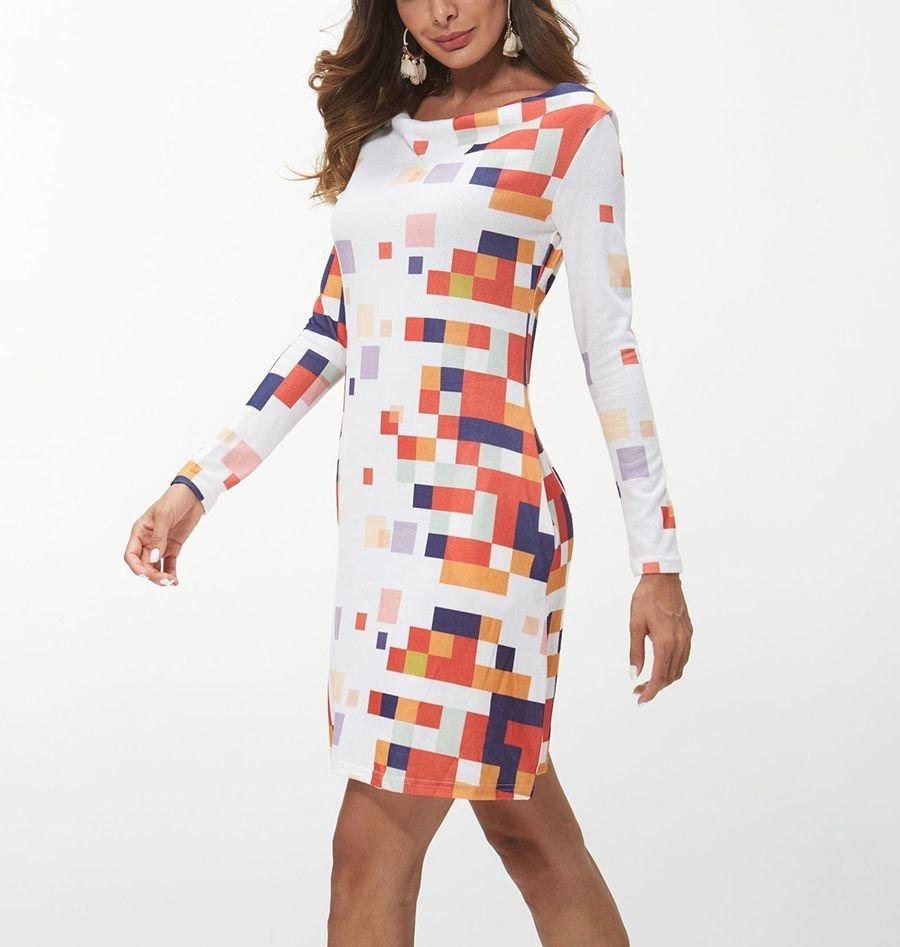 Short Work Dress in Geometric Print