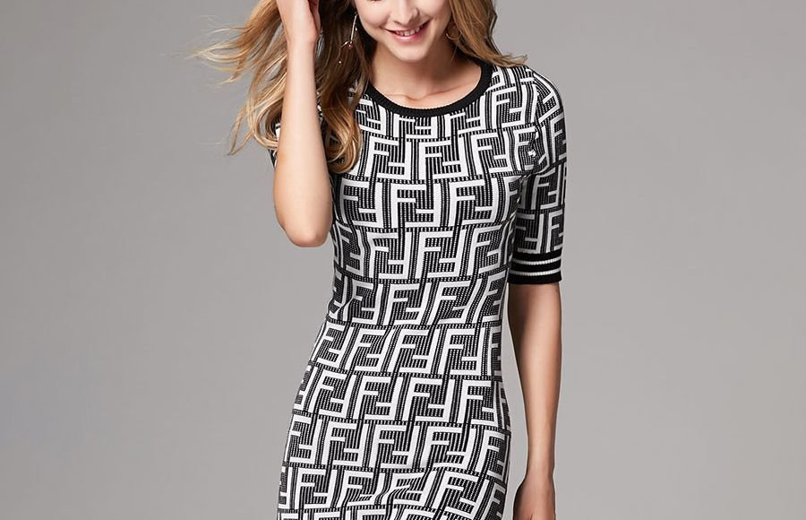 Knit Dress for Work in Geometric Patterns